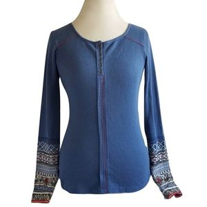 SUNDANCE Blue Boho Thermal LS Top Embroidered XS